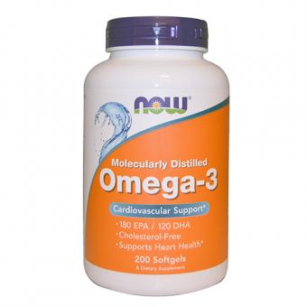 Omega-3 Fischöl Now Foods 200 Softgels